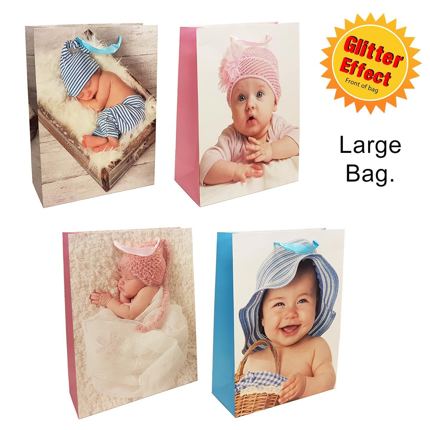 Baby Gift Sack : Large baby gift bag bow